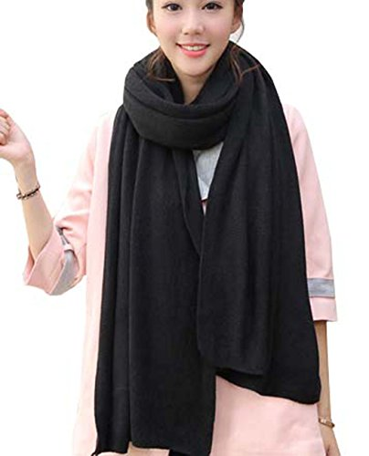 Wander Agio Womens Warm Long Shawl Winter Upset Large Scarf Pure Color Black