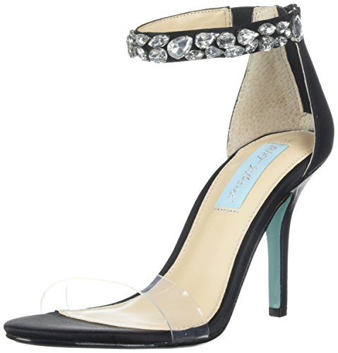 Blue by Betsey Johnson Women's SB-Drew Heeled Sandal Black Satin discount outlet locations D9HpW578Y