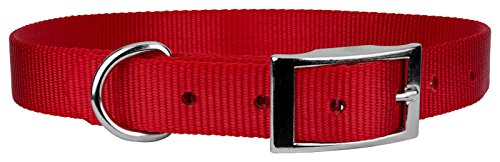 (Country Brook Design | Red Nylon Premium Traditional Dog Collar - Medium)