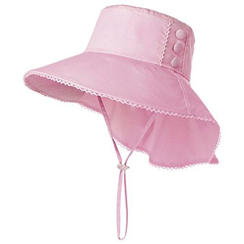 Cotton Chin Cord (Womens Sun Protection Hats Summer Gardening Fishing Hiking Shades Hat UPF 50 Wide Brim Foldable Cotton Pink Siggi)