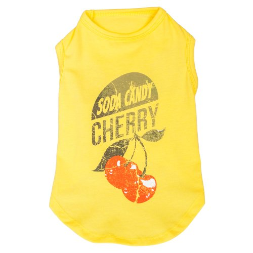 - Blueberry Pet Cherry Soda Candy Cotton Dog Tank Top Shirt in Sunshine Yellow, Back Length 10