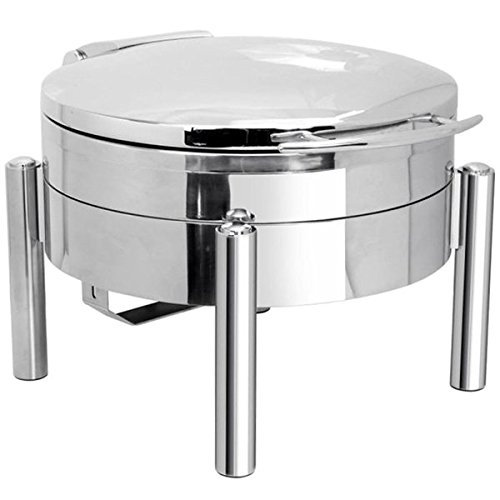 Eastern Tabletop 3978S Jazz 6 Qt. Stainless Steel Round Induction Chafer with Pillar'd Stand and Hinged Dome Cover