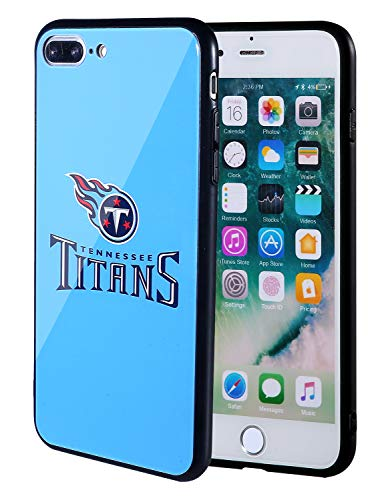 Sportula NFL Phone Case - 9H Tempered Glass Back Cover and Silicone Rubber Bumper Frame Compatible Apple iPhone 8 Plus / 7 Plus (Tennessee Titans)