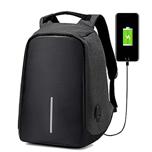 Laptop Backpack with USB Charging Port Anti-Theft Waterproof Travel School Book Bag Large Capacity Casual for College Student Work Men & Women,black from OASD