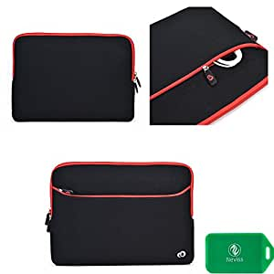 protective neoprene sleeve with outside pocket and internal card slot- black/red fits Acer Aspire One AO722-BZ816