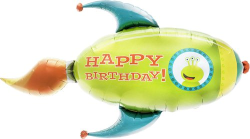 Birthday Rocket Helium Foil Balloon - 41 inch -