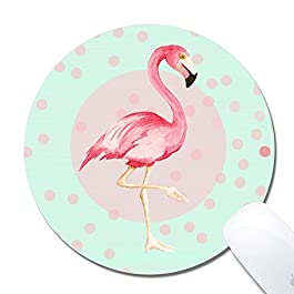 Computer Flamingos Round Mouse Pad (7.8×7.8 Inch), Printed Rubber Desk Accessories Mouse Mat (Flamingos)