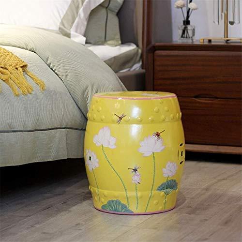 CHU N Ceramica pequeno Tambor de heces, Flores y pajaros monton Redondo Taburete de jardin de Lotus refrescan Pier Sofa Lado A Pocos Zapatos Bench Stool (Size : B)