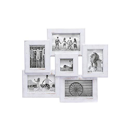 Malden International Designs Berkshire Beveled Wall Collage Picture Frame, 6 Option, 3-4x6 & 2-3x5 & 1-3x3, White