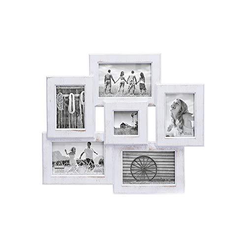 Malden International Designs Berkshire Beveled Wall Collage Picture Frame, 6 Option, 3-4x6 & 2-3x5 & 1-3x3, White -