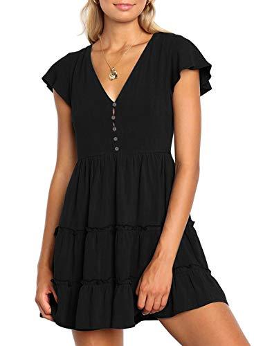 (ZESICA Women's Summer Bohemian Floral Printed Short Sleeve V Neck Button Ruffle Swing Beach Mini Dress Solid Black )