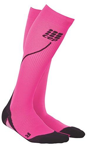 CEP Women's Progressive+ Compression Run Socks 2.0, Size 3 (Calf 12.5-15-Inch), Pink/Black