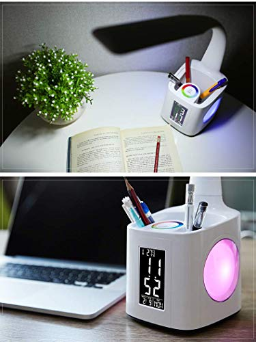 MRXUE Table Lamp Pen Holder Colorful Desk Lamp Screen with Date Time Alarm Clock Temperature Touch Control Eye-Care USB Charger Port Phone Charging by MRXUE (Image #7)