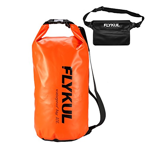 Flykul Waterproof Dry Bags With Waterproof Pouch 10L/20L Waterproof Bag + Waist Pouch, Waterproof Bag Perfect for Boating Swimming Kayaking Beach Pool Water Parks (10L Orange Bag+Black Waist Pouch) (20l Snow)