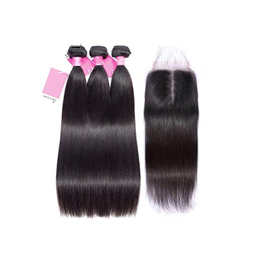 Straight Hair Bundles With Closure Malaysian Human Hair Bundles With Closure HAIR Bundles Remy Straight Hair With Closure,24 26 26 & Closure20,Free Part ()