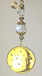 Full Moon & Stars with Crescent Moon Inside and Crystal Clear Faceted Glass Ceiling Fan Pull / Light Pull Chain