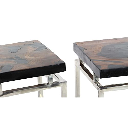 Studio 350 Teak Resin Metal Table Set of 2, 16 inches wide, 19 inches high