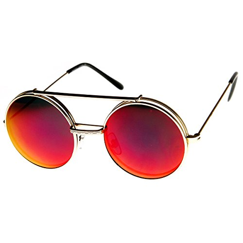 Limited Edition Mirror Flip-Up Lens Round Circle Django Sunglasses (Gold - Up Glasses Flip Round