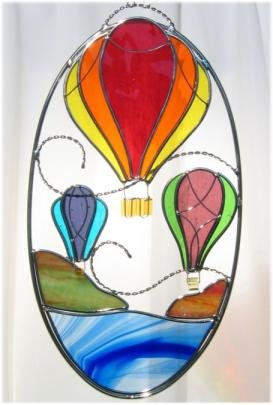 Hot Air Balloon Stained Glass Oval (Hot Balloon Air Glass)