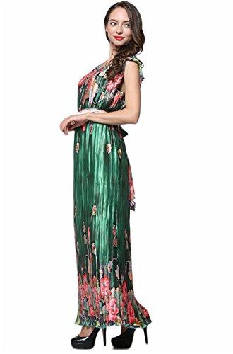 Kleid Damen Große Pin Mit Größe JOTHIN Grün Gürtel Abendkleider up Drucken Sommerkleider Sleeveless Plissee Lang IqXpw