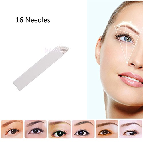 Makeup Tattoo Needle 100 Pcs 16 Pin Tattoo Microblading P...