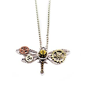 Frankenstrap Steampunk Dragonfly Pendant Necklace – Vintage Gear Cosplay Jewelery