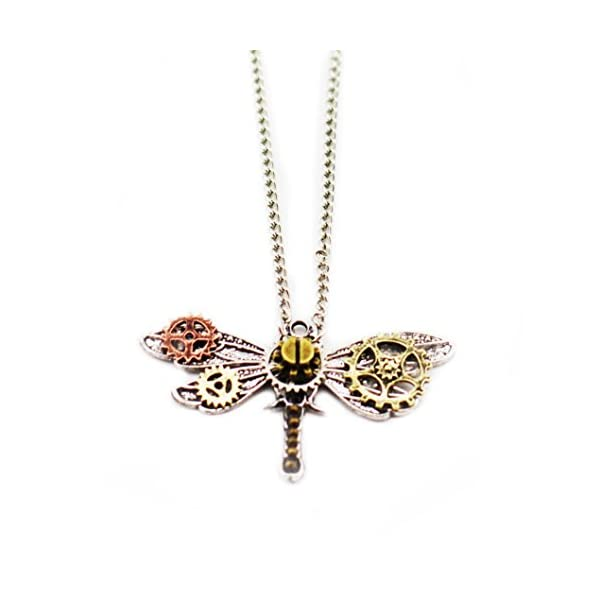 Frankenstrap Steampunk Dragonfly Pendant Necklace - Vintage Gear Cosplay Jewelery 3
