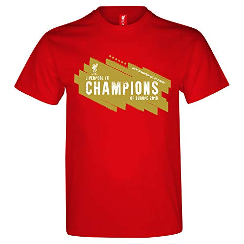 Liverpool FC Official Soccer Gift Mens 6 Times CL Winners T-Shirt Red XL ()