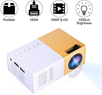 VBESTLIFE Mini Elegante Proyector LED Portátil 1080P Full HD 1500 Lume ns Compatible HDMI ,VGA ,AV, USB y Micro SD, Reproductor Multimedia para ...