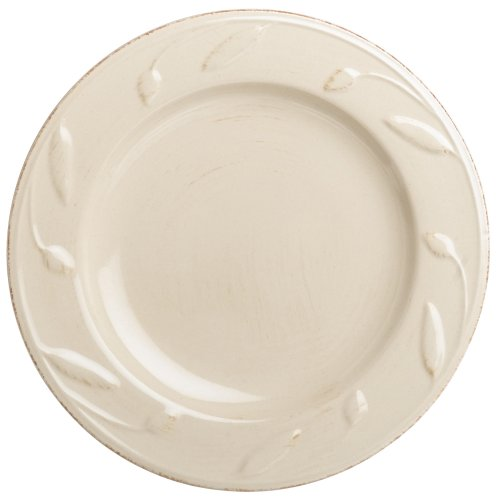 Signature Housewares Sorrento Collection 8-Inch Round Salad Plate, Ivory Antiqued Finish