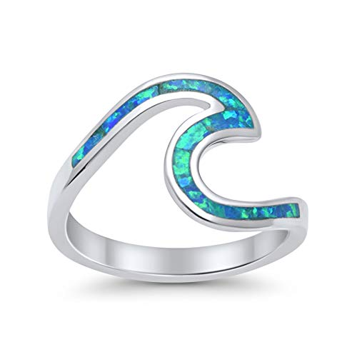 Wave Swirl Band Ring Irregular Shape Lab Created Blue Opal 925 Sterling Silver