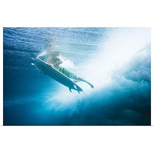 (GREATBIGCANVAS Poster Print Entitled Indonesia, Bali, Surfer Dives Under Wave by MakenaStock Media 18