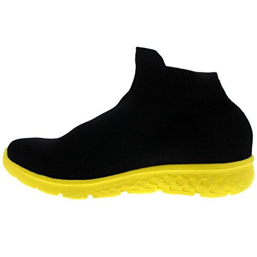Ponerse Punto Deporte Hombre Ligero Entrenadores Tejido Negro Amarillo De para Corriendo Caminar Calcetín Fit qwFtnxFp