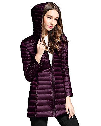 ZhuiKun Women's Down Coat Lightweight Packable Long Hooded Puffer Jackets Outwear Purple
