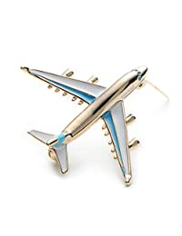 WULI & BABY Alloy Airplane Brooch Pins Enamel Red Blue Plane Luxury Brand Brooches for Women(Blue)