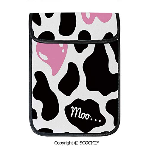(SCOCICI iPad Pro 12.9 Inch Sleeve Tablet Protective Bag Camouflage Hide Pattern in Black and White with Cute Pink Heart Shape Moo Decorative Custom Tablet Sleeve Bag Case)