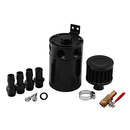 Tasan Racing Aluminum Compact Baffled Oil Catch Can 3 Port Plug + Fittings + Filter (Catch Can Filter)