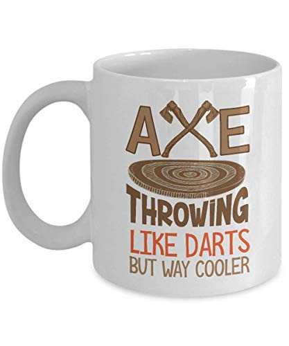 (Like Darts But Way Cooler Graphic Axe Throwing Wood Target Board & Axes Coffee & Tea Gift Mug, Accessories And Party Gifts For Pro Ax Thrower Men & Women (15oz))