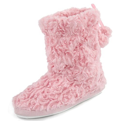 Gohom Women's Winter Warm Mid Length Faux Fur Suede Slipper Boots Pink US Size 7/8 (Slipper Boots Fur)