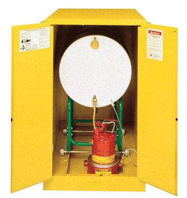 - Justrite 55 Gallon Yellow Sure-Grip EX 18 Gauge Cold Rolled Steel Horizontal Drum Safety Cabinet With (2) Self-Closing Doors And Cradle Track (For Flammable Liquids)