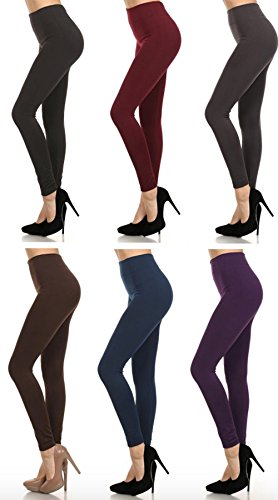MOPAS 6-pack: Seamless Fleece Lined Leggings - Stretchy Multi Colors (One Size, Black Burgundy Charcoal Coffee Navy D.Purple)
