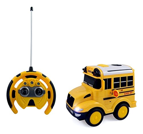 PowerTRC® R/C School Bus Radio Control Toy Car for kids with Steering Wheel Remote, Lights and Sounds (Cars Bus Toy)