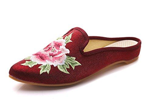 Para Estar Por Lazutom Vino Zapatillas Rojo Casa Satén De Mujer nqYTaCEw