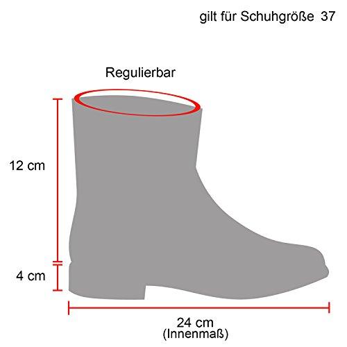 Stiefelparadies Damen Stiefeletten Worker Boots mit Blockabsatz Metallic Profilsohle Flandell Creme Bexhill