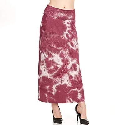 X America Womens Long Stylish Foldover Maxi Skirt, Rayon Spandex, Junior & Plus