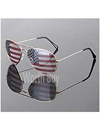 4af1e7a1ddc Patriotic Patriot Sunglasses America USA Flag Print Lens Gold Shades Fashion