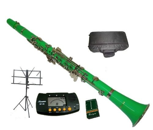 Merano B Flat Green / Silver Clarinet with Case+MouthPiece+Metro Tuner+Black Music Stand+11 (Piccolo Clarinet)