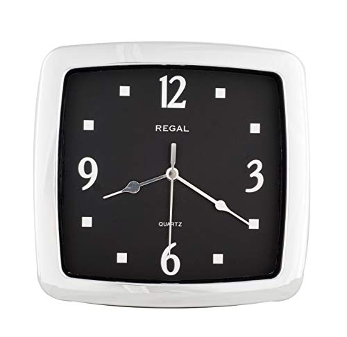 - JUSTIME 8.5-inch Quality Square Water Resistant Quartz Wall Clock Special for Small Space, Office, Boats, RV (W40007 Chrome Plated)