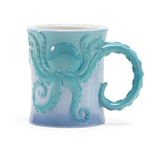 - Department 56 6002196 Coastal Octopus Stoneware Mug, 16 oz, Teal