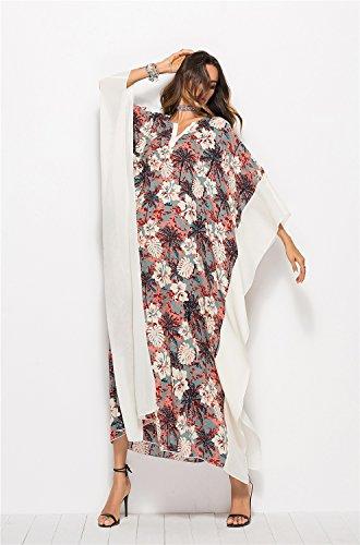 XZP Maillot de bain Cover Up Dress, robe de plage en mousseline de soie robe de fleur Imprimer V-cou manches chauve-souris Vintage Beach Wear les femmes,Robe de Femme White